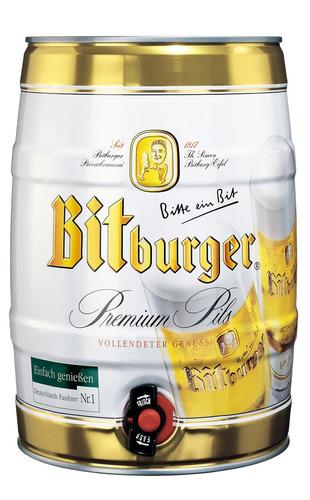 cerveza premium alemana bitburger barril 5 l - ciudad jardín