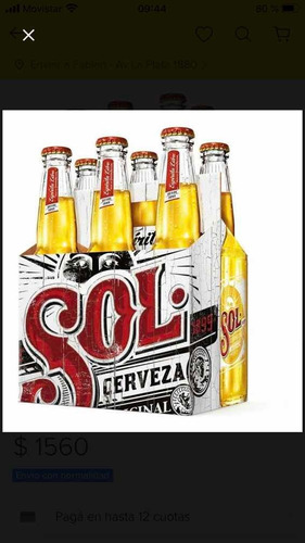 cerveza sol x pack 24