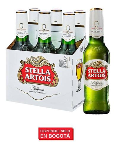 cerveza stella artois botella x 18 unid 330ml + 2 copa caliz