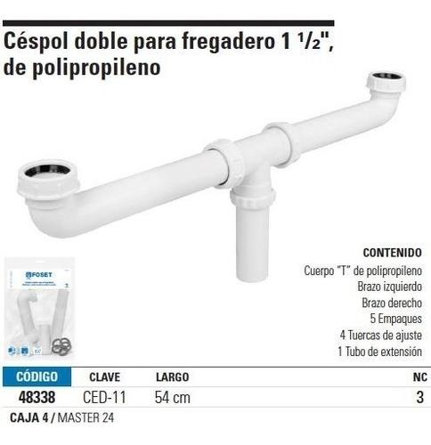 cespol doble flexible para fregadero 1-1/2' pvc foset 48338