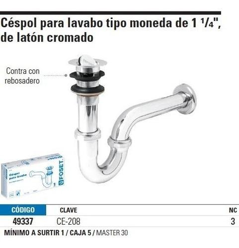 cespol lavabo 1-1/4' laton cromado t. moneda foset 49337