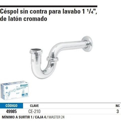 cespol lavabo sin contra laton cromado foset 49985
