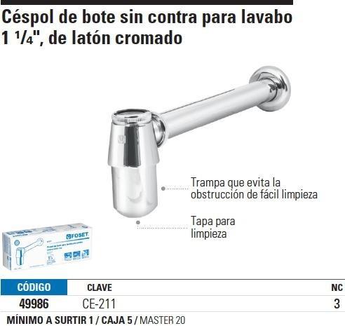 cespol lavabo sin contra laton cromado t.bote foset 49986