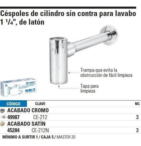 cespol lavabo sin contra laton cromado t.cilindr foset 49987