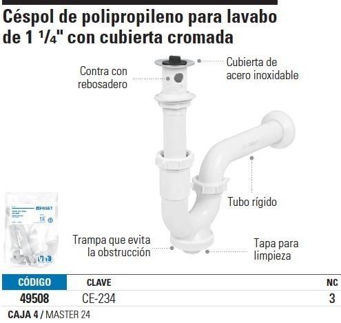 Cespol Polipropileno P lavabo Con Cubierta Cromada 1-1 4  Fo ... ab8917d898a9