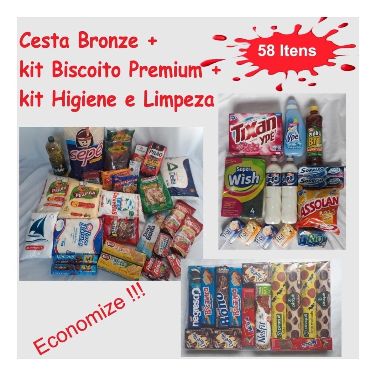 eaf80a5506 Cesta Básica Bronze + Kit Biscoito + Kit Limpeza - 61 Itens - R$ 300 ...