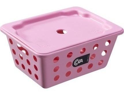 cesta / caixa organizadora com tampa coza rosa