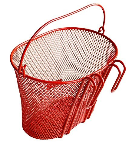 cesta con ganchos rojo, de frente, extraíble, alambre de ma