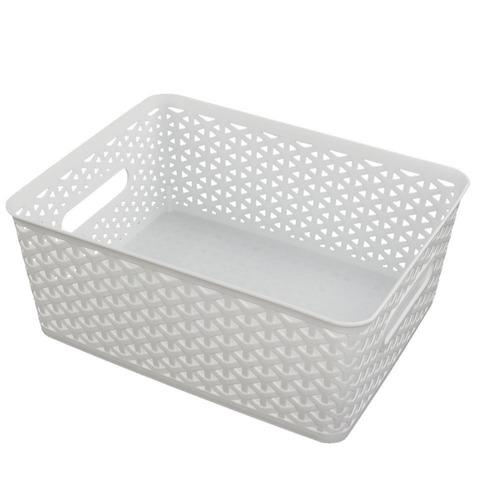cesta de almacenamiento de plástico tejida hommp, blanco, j