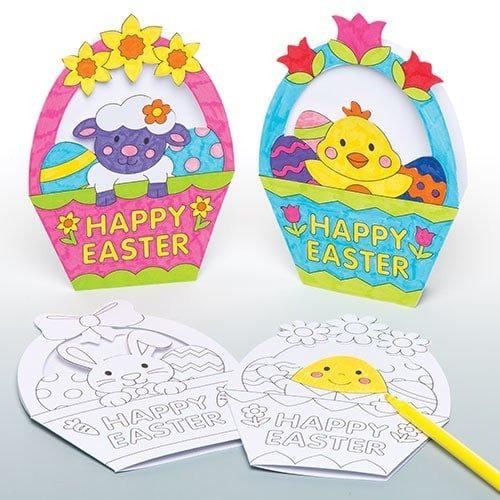 Cesta De Huevos De Pascua Color En Tarjetas Para Niños Sumi ...