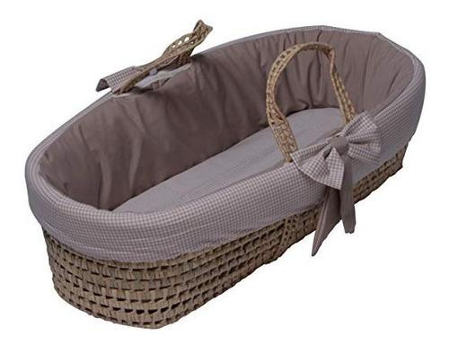 cesta de moisés de mimbre con colchon y sabana bajera