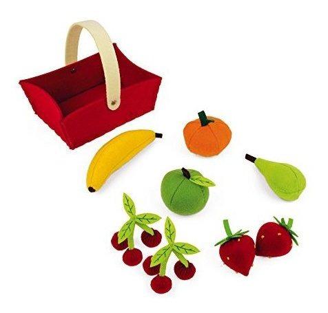 cesta de tela janod con 8 frutas