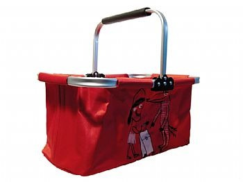 cesta dobrável para supermercado em alumínio tr002 vermelho