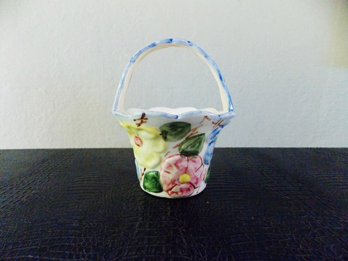 cesta faiança floral pintada à mão