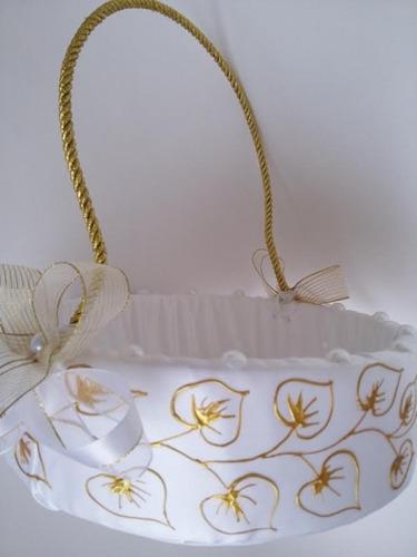 cesta florista pintura tinta dourada noivos casamentos bodas