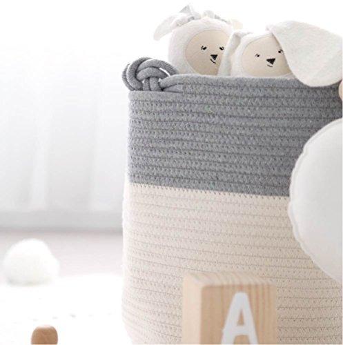 cesta grande de almacenamiento de cuerda de algodón con asas