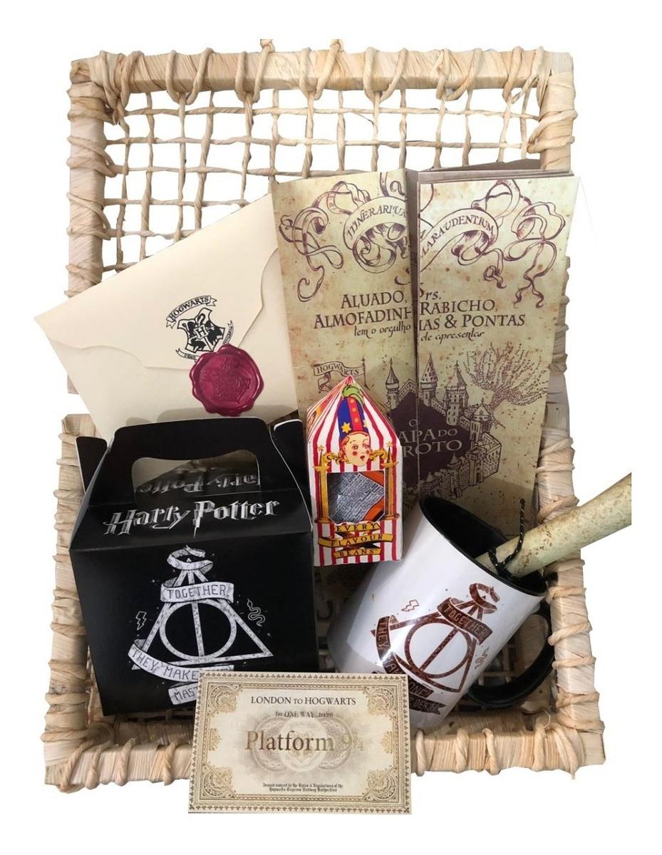 41ec7f186e0c71 Cesta Harry Potter D - 8 Itens Com Carta + Cesta + Feijões