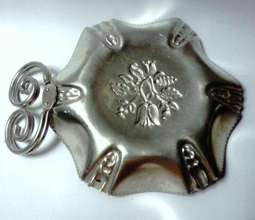 cesta mediana aluminio años 40 asa dos curvas flores