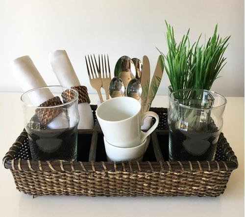 cesta organizadora de cocina con 6 espacios ratan