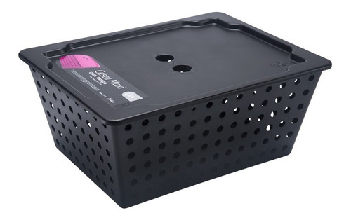 cesta organizadora maxi com tampa coza preta