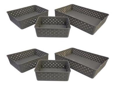 cesta organizadora rattan p, m, g 2 kit com 3 tamanhos 825