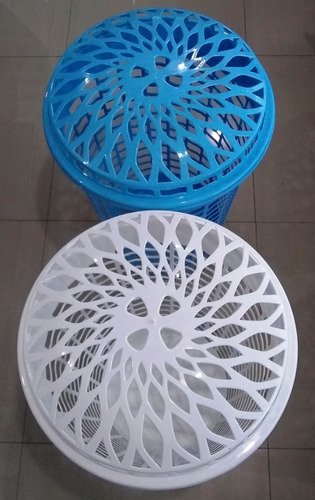 cesta para ropa grande azul y blanco simple/solution 5395