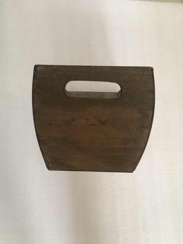 cesta vintage decorativa de lamina y madera 3pz