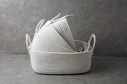 cestas de almacenamiento de cuerda de algodón con asas de hi
