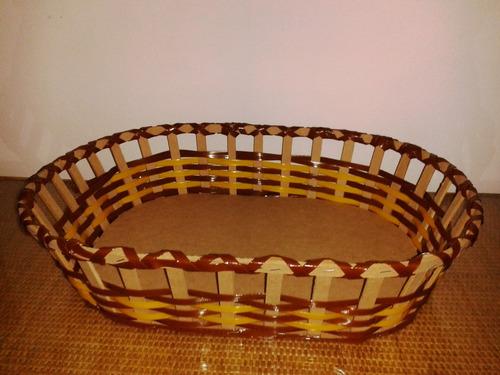 cestas navideñas tejidas en plastico