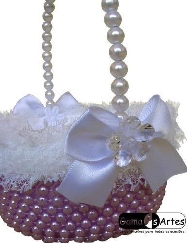 cestinha porta aliança para casamento - lilás