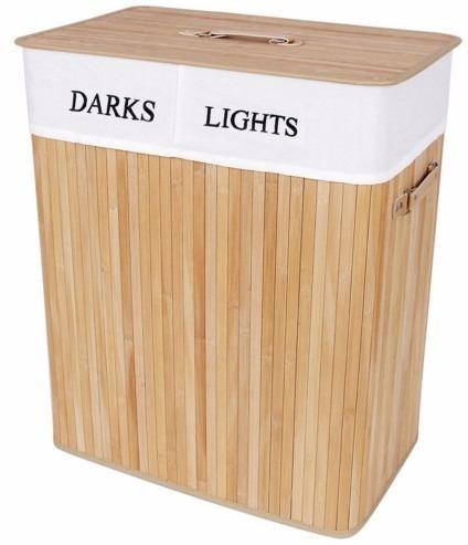 Cesto clasificador de ropa sucia de madera de bamb - Cestos de madera ...