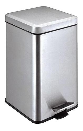 cesto cuadrado acero inoxidable 12 litros con tapa