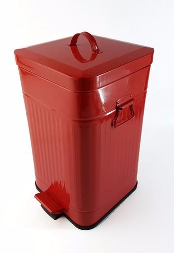 cesto de basura metalico cuadrado 12 litros tacho blanco/roj