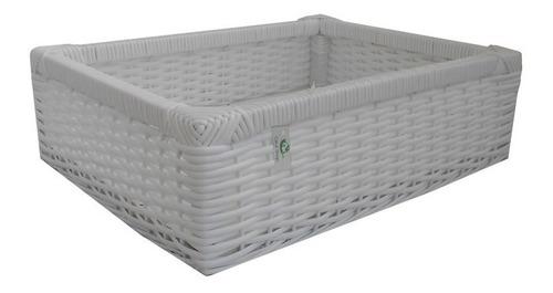 cesto de fibra sintética branco 40x32x12