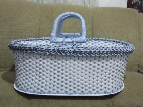 cesto de moises azul com branco fibra sintetica