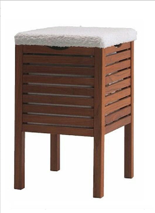 Cesto de ropa y banco para ba o de madera en - Banco de bano ...