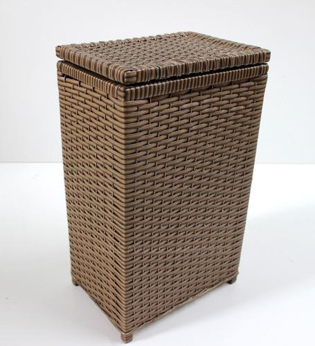 cesto de roupa suja fibra sintética tipo vime junco 40x25x60