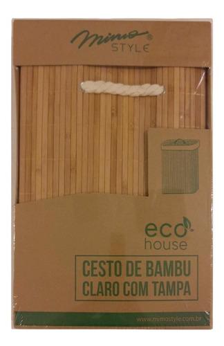 cesto de roupas bambu natural com tampa 6841