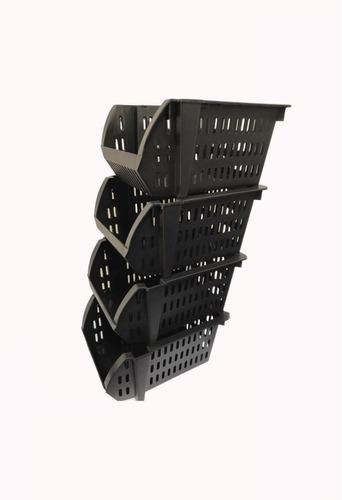 cesto empilhavel expositor organizador preto 10 peças