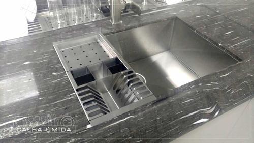 cesto escorredor inox 3 módulos para cuba calha úmida