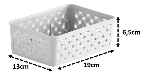 cesto organizador multiuso gaveta plástico rattan 19x13x6cm