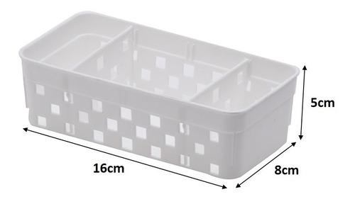 cesto organizador plástico porta sachês divisórias 16x8x5cm