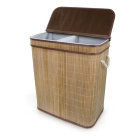 Cesto Roupa Duplo Banheiro/lavanderia Bambu Retangular Tampa