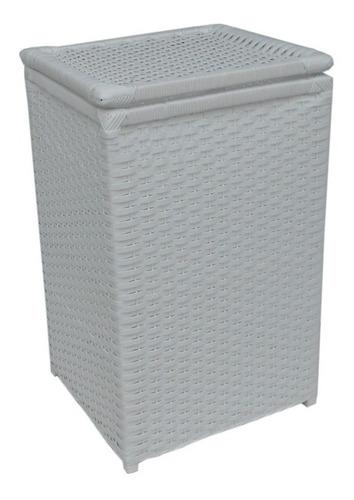 cesto roupa vime sintético branco 40x30x60