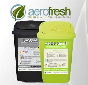 cesto tacho de basura residuos 25l verde reciclaje etiqueta