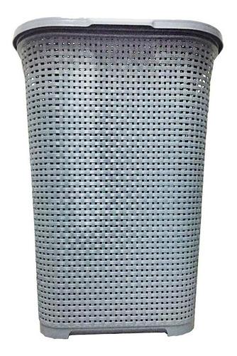 cesto telado retangular para roupas com tampa e alça 30 lts