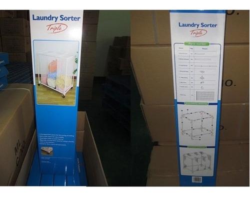 cesto triplo carrinho lavanderia com 3 roupeiro organizador