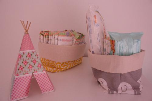 cestos de tela organizadores algodoneros para bebés x2 unid