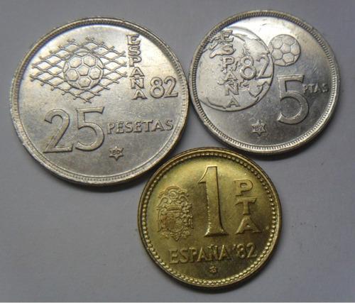 ch españa 1, 5 y 25 pesetas conmemorativas mundial fútbol 82