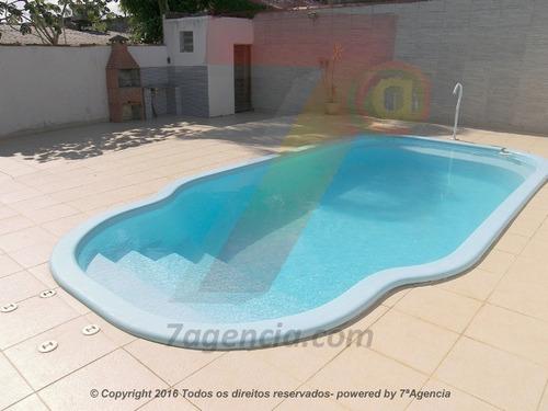 ch109 sobrado c/ piscina churrasqueira 3 quartos lado praia
